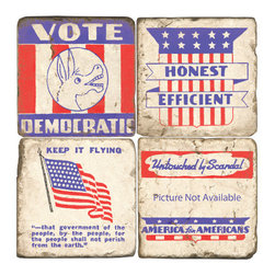 Studio Vertu - Democratic Coasters, Set of 4 - Toast to the USA! Perfect for watching Scandal, Veep, House of Cards, or 2016 election coverage. Celebrate politics with these handmade red, white, and blue coasters featuring Democratic imagery. The coasters are handmade in a Cincinnati studio using tumbled Italian botticino marble with cork backing. Please note that due to the natural marble, any imperfections are inherent to the design and add to the natural beauty of these coasters.   About the Artist: Studio Vertu's success story began in 1995, when owner Mark Schmidt developed the concept of Lightweight Fresco Tile. Schmidt saw the product as an alternative to permanently mounted marble tiles or hand-painted mural. His insight led to Studio Vertu being awarded an installation at The National Football League Headquarters in New York City. In addition to developing large-scale installations, Schmidt wanted to bring the idea of original artwork on marble tile to homes, allowing more people to enjoy the pieces. In the spring of 1995, Studio Vertu introduced 10 sets of Italian Marble Coasters, each consisting of four different images, and a business was born. Studio Vertu continues to hand make their marble artwork in their Cincinnati-based studio.  Studio Vertu installation at NFL Headquarters in NYC   Product Details: