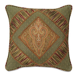 """Frontgate - Glenwood 18"""" sq. Decorative Pillow - From Eastern Accents. 16"""" sq., 22"""" x 13"""", 18"""" sq., 20"""" sq.. Dry clean only recommended. Because this bedding is specially made to order, please allow 4-6 weeks for delivery.. A true classic, the Glenwood Bedding Collection is rich in traditional hues and adornments. The duvet cover, in a grand ruby and olive design pairs with mitered and gimped shams in deep sage with intricate insert styling. The collection's accessories are generously ornamented in fringed edges and decorative tassels, making this an ensemble to behold.  .  .  . . Made in USA of imported goods. Part of the Glenwood Bedding Collection."""