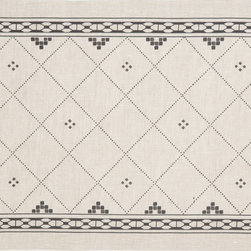 Huddleson - Anfa Natural and Black Linen Placemat 14x19 (Set of Four) - The finest Italian natural linen tablecloth with a black Moroccan tile motif and interlocking chain border.  This elegantly simple design looks wonderful in a formal or casual setting. Machine washable.