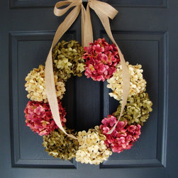 Hydrangea Wreath by HomeHearthGarden - A stunning hydrangea spring door wreath that is just the right size. This wreath will brighten your entry and provide a warm welcome to your family and friends.