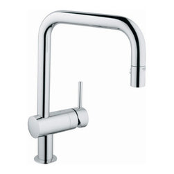 """Grohe - Grohe Pull-Out Spray Kitchen Faucet w/ Ceramic Handle - Locking Spray - Product Features: Covered under Grohe's limited lifetime warrantyAll-brass faucet body construction ensures durability for a lifetime Grohe faucets are exclusively engineered in Germany Locking Push Button Control - switch from regular flow to stream Pullout spray faucet head enhances faucet's versatility Spout swivels 360-degrees providing greater access to more areas of the sink High-arch gooseneck spout design provides optimal room under the faucet for any size task ADA compliant Low lead compliant - meeting federal and state regulations for lead content  Product Specifications:  Overall Height: 14"""" (measured from counter top to highest point on faucet) Spout Height: 8-3/4"""" (measured from counter top to spout outlet) Spout Reach: 8-5/9"""" (measured from center of faucet base to center of spout outlet) Number of Holes Required For Installation: 1 Flow Rate: 1.75 GPM (gallons-per-minute) Maximum Deck Thickness: 2-5/8"""" Designed for use with standard U.S. plumbing connections All hardware needed for mounting is included with faucet  Product Technologies / Benefits:  Starlight Finish: Continuously improving over the last 70 years Grohe�s unique plating process has been refined to produce and immaculate shiny surface that is recognized as one of the best surface finishes the world over. Grohe plates sub layers of copper and/or nickel to ensure that a completely non-porous, immaculate surface awaits the chrome layer. This deep, even layered chrome surface creates a luminous and mirror like sheen. Grohe finishes are life tested to withstand 60,000 �wipes� with an abrasive cloth. SilkMove Cartridge: The rich and smooth handling of our single lever faucets conveys pure quality. As you change the temperature from hot to cold, one ceramic disc glides effortlessly across the other with absolute precision. These cartridges are manufactured in a high-tech process and feature discs made from a space-pr"""
