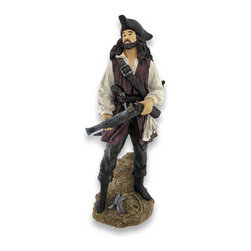 Perilous Pirate With Musket and Pistol Statue 21 inch - With his blunderbuss in hand, a pistol in his belt and his cutlass not far behind, this perilous pirate is in position to protect his cache. Standing on a rock at the edge of the sea, a ships anchor rests at his feet. Beautifully cast in resin and handsomely hand-painted, this pirate stands tall at 21.75 inches, is 10 inches across and 7 inches deep. This pirate is perfect for an entryway or office, and is sure to invoke the pirate spirit! Arrr!