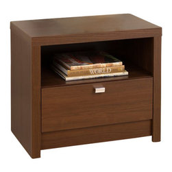 Prepac - Prepac Series 9 Designer 1 Drawer Nightstand in Medium Brown Walnut - Prepac - Nightstands - LDNR05101 - The Medium Brown Walnut Series 9 Designer 1 Drawer Nightstand draws your eye with its bold thick tops and sides and is the perfect choice for your modern bedroom.  This nightstand is a perfect blend of functionality and good looks.  The open shelf is ideal for items you want to be handy while a generously sized drawer is perfect for out-of-sight storage.