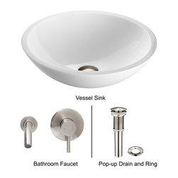 Vigo - Vigo Phoenix Stone Glass Vessel Sink w/ Flat Edged & Wall Mount Faucet (VGT225) - Vigo VGT225 Phoenix Stone Glass Vessel Sink with Flat Edged and Wall Mount Faucet, Brushed Nickel