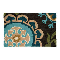 Homefires - Suzanni Blue Rug - A stylized corner snapshot of what seems to be a bigger design, this peacock feather, colored accent rug is enigmatic and sublime. Turquoise, greens and blues tangle and create a versatile, machine-washable rug for all seasons and settings.