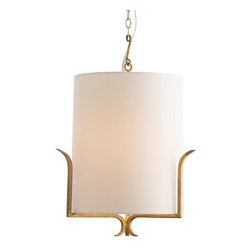 """Arteriors - Hendrik Pendant - This graphically modern pendant is also at home in the most traditional environment.  Note how the clean, sleek ivory microfiber shade simply rests on the three arms.  The iron is finished in gold leaf.  This will be great in a hallway or powder room, or consider two of them hanging over the dining table.  Additional chain available.  Plug: Hardwired.  Voltage: 110-120 Volt.  Canopy: 5 3/4"""" round.  Socket Quantity: 1 Socket Wattage: 60"""