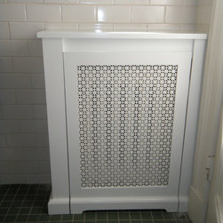 Corner Radiator Cover - Custom removable panel with metal decorative screen.
