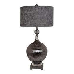"Kingley Table Lamp, Set of 2 - Kingley Table Lamp 34""Ht.,Ceramic&Crystal&Metal Silver Ceramic&Crystal Finish 17 x 17 x 10 Charcolle Grey Shade"