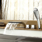 Bathtub Faucets - Contemporary Waterfall Tub Faucet with Hand Shower - Chrome Finish