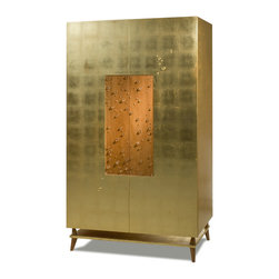Gold Leaf Gotas Armoire - From Rotsen Furniture's Brazilian Brilliance collection, the Gold Leaf Gotas Armoire is made with a combination of Peroba wood, gold leaf and rock crystals.