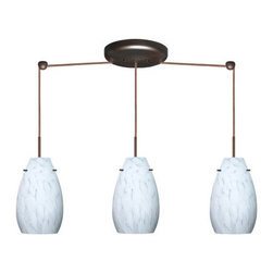 Besa Lighting - Besa Lighting 3JB-412619 Pera 3 Light Linear Pendant - The Pera 9 is a curvy bell-bottomed shape, that fits nicely into any contemporary design. Our Carrera glass is a classic yet modern decor that gives off a soft white light. Clear molten glass is rolled in alabaster powder like frit, and then blown into shape with a semi-clear frosted white inner finish. This decor is created by rolling molten glass in small bits of white called frit. The smooth satin finish on the clear outer layer is a result of an extensive etching process. This blown glass is handcrafted by a skilled artisan, utilizing century-old techniques passed down from generation to generation. Each piece of this decor has its own artistic nature that can be individually appreciated. The cord pendant fixture is equipped with three (3) 10' SVT cordsets and a 3-light linear canopy, two (2) suspension stemhooks included.Features: