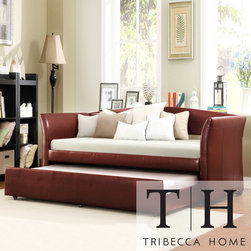 Tribecca Home - TRIBECCA HOME Deco Wine Red Faux Leather Daybed with Trundle - Bring some functional style into your home with this red daybed with trundle. Use this elegant piece of furniture as a sofa by day and a comfortable bed by night. It features a solid hardwood frame and a wine-red finish for extra style.