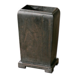 The Uttermost Company - Madoc Dark Wood Planter - Natural wood with a dark walnut stain.