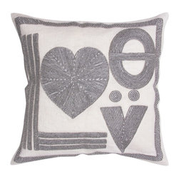 Jonathan Adler Love Linen Beaded Pillow - Love always sparkles and shines. I want this modern pillow shimmering away on my couch and reminding everyone that love is all you need.