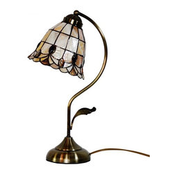 Artistic Tiffany Desk Lamp with Sea Shell Shade in Arc Arm Style - The Tiffany Lighting fixture has been a staple in interior design since the late 1800s and is still as fashionable today. As a part of the Art Nouveau movement,this Artistic Tiffany Table Light with Sea Shell Shade in Arc Arm Style are a fabulous choice especially if your decor is vintage inspired or Victorian. Made up of several pieces of stained glass, these are timeless light fixtures that will never go out of style.