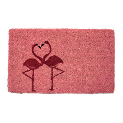 Entryways - Flamingos Hand Woven Coconut Fiber Doormat - Single Doormat, hand-woven, hand-painted, hand-stenciled, fade resistant, natural coir (coconut fiber), durable, best location is covered area, shake or sweep clean.