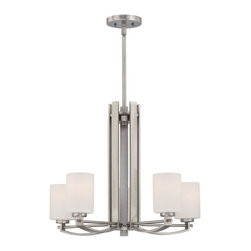 Quoizel - Quoizel Antique Nickel Mid. Chandeliers - SKU: TY5005AN - Linear style and precise design are the elements of this strong contemporary collection. The opal etched glass compliments both the western bronze as well as the antique nickel finishes. With a variety of styles to choose from, Taylor will enhance any room in your home.