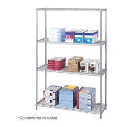 """Safco - Industrial Wire Shelving, 48 x 18"""" - Grey - Make your storage area strong. This Industrial Wire Shelving is made from strong, welded wire construction with a per shelf capacity of 1000 lbs. (with weight evenly distributed). Includes four shelves, four posts and snap-together clips. The open wire design permits air circulation and prevents dust accumulation. Shelves adjust in 1"""" increments and the unit assembles in minutes without tools! Optional Add-On Unit and Extra Shelf Pack available to meet specific requirements. Available in Black or Metallic Gray powder coat finish.; Features: Material: Steel; Color: Grey; Finished Product Weight: 58 lbs.; Assembly Required: Yes; Tools Required: No; Limited Lifetime Warranty; Dimensions: 48""""W x 18""""D x 72""""H"""