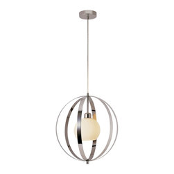 """Trans Globe Lighting - Trans Globe Lighting 10132 PC Harlequin Modern / Contemporary Pendant Light - Open polished chrome frame with white frosted glass globe in center. Adjust wire to hang as flushmount or drop 72"""". Contemporary pendant collection."""