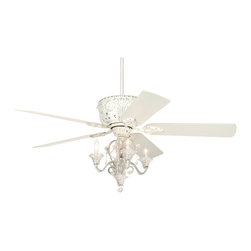 """Casa Vieja - Casa Deville Candelabra Ceiling Fan - Bring elegance to your home with this rubbed white finished ceiling fan featuring a chic chandelier light kit for stylish illumination. This Deville ceiling fan enters a new era with a candelabra-style design. A rubbed white finish motor with white blades is paired with a candelabra light kit for a chic look. Motor has 3-speeds and a pull-chain operation. 7"""" downrod included. Dual mountable; install with pole or as a ceiling flushmount. Add-on hand held remote control and/or wall control is required to operate the light kit (please refer to optional controls below). Included deeper canopy recommended for installation with remote control."""