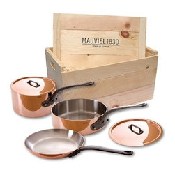 "Mauviel - Mauviel Cuprinox M150 M'Heritage 1.5mm 5-Piece Cookware Set with Wooden Crate - Set includes the following pieces:     (01) Mauviel 0.9 qt. sauce pan with lid model 6410.13    (01) Mauviel 3.2 qt. saute pan with lid model 6411.25    (01) Mauviel 10.2"" frying pan model 6413.26    (01) Wooden crate1.5 mm Cuprinox thickness ensures very rapid and uniform heat conduction 1.5 mm Cuprinox is composed by a thick layer of copper and a stainless steel layer in the interior of the pan Polished outside  Fixed by sturdy stainless steel rivets Cast iron handles No retinning required Suitable for gas, electric, halogen and oven safe Not suitable for induction cooktops Made in France."
