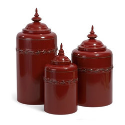 "IMAX - Red Metal Canisters - Set of 3 - Fun and Functional Round Scarlet Metal Canisters, set of three Item Dimensions: (12.5-15.5-18""h x 6.25-8.25""d)"