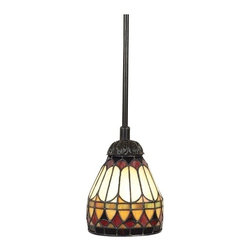 "Quoizel - Arts and Crafts - Mission Piccolo Tiffany Style Mini Pendant Chandelier - A perfect balance of design and color this Tiffany-style pendant chandelier features a vintage bronze finish and with vibrant shades of red amber bone and brown. From Quoizel Lighting. Takes one 100 watt bulb (not included). Measures 6"" wide and 47"" high. Canopy measures 5"" wide. 5 lbs. hanging weight.  Vintage bronze finish.   Tiffany-style glass.  Takes one 100 watt bulb (not included).   6"" wide.  47"" high.  Canopy measures 5"" wide.  5 lbs. hanging weight."