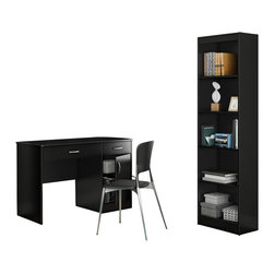 South Shore - South Shore Axess 2 Piece Office Set with Narrow Bookcase in Pure Black - South Shore - Office Sets - 72700707270758PKG -