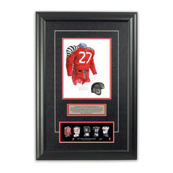 "Heritage Sports Art - Original art of the CFL 1940 Ottawa Rough Riders uniform - This beautifully framed piece features an original piece of watercolor artwork glass-framed in an attractive two inch wide black resin frame with a double mat. The outer dimensions of the framed piece are approximately 17"" wide x 24.5"" high, although the exact size will vary according to the size of the original piece of art. At the core of the framed piece is the actual piece of original artwork as painted by the artist on textured 100% rag, water-marked watercolor paper. In many cases the original artwork has handwritten notes in pencil from the artist. Simply put, this is beautiful, one-of-a-kind artwork. The outer mat is a rich textured black acid-free mat with a decorative inset white v-groove, while the inner mat is a complimentary colored acid-free mat reflecting one of the team's primary colors. The image of this framed piece shows the mat color that we use (Red). Beneath the artwork is a silver plate with black text describing the original artwork. The text for this piece will read: This original, one-of-a-kind watercolor painting of the 1940 Ottawa Rough Riders uniform is the original artwork that was used in the creation of this Ottawa Renegades uniform evolution print and thousands of other Ottawa Rough Riders products that have been sold across North America. This original piece of art was painted by artist Nola McConnan for Maple Leaf Productions Ltd.  1940 was a Grey Cup winning season for the Ottawa Rough Riders. Beneath the silver plate is a 3"" x 9"" reproduction of a well known, best-selling print that celebrates the history of the team. The print beautifully illustrates the chronological evolution of the team's uniform and shows you how the original art was used in the creation of this print. If you look closely, you will see that the print features the actual artwork being offered for sale. The piece is framed with an extremely high quality framing glass. We have used this glass style for many years with excellent results. We package every piece very carefully in a double layer of bubble wrap and a rigid double-wall cardboard package to avoid breakage at any point during the shipping process, but if damage does occur, we will gladly repair, replace or refund. Please note that all of our products come with a 90 day 100% satisfaction guarantee. Each framed piece also comes with a two page letter signed by Scott Sillcox describing the history behind the art. If there was an extra-special story about your piece of art, that story will be included in the letter. When you receive your framed piece, you should find the letter lightly attached to the front of the framed piece. If you have any questions, at any time, about the actual artwork or about any of the artist's handwritten notes on the artwork, I would love to tell you about them. After placing your order, please click the ""Contact Seller"" button to message me and I will tell you everything I can about your original piece of art. The artists and I spent well over ten years of our lives creating these pieces of original artwork, and in many cases there are stories I can tell you about your actual piece of artwork that might add an extra element of interest in your one-of-a-kind purchase."