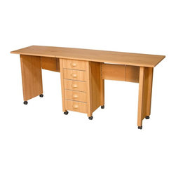 "Venture Horizon - Mobile Drop-Leaf Double Desk & Craft Center ( - Finish: BlackFile cabinet included. Dual tops that fold for storage. Casters add mobility. Huge work surface. 5 Handy drawers. Durable and easy to clean. Constructed from durable, stain resistant and laminated wood composites that includes MDF. Made in the USA. Pictured in Oak finish for assembled table. Pictured in White finish for half-folded. Assembly required. Weight: 77 lbs.. Table size:. Folded size: 22 in. W x 18 in. D x 29.5 in. H. Assembled size: 73.5 in. W x 18 in. D x 29.5 in. H. Drawers: 12.25 in. L x 13.5 in. W x 4.25 in. HFoldaway mobile desk center. Redesigned with larger and deeper drawers. Perfect for crafting! We took our best selling mobile desk and added some style. That's right. This version has thick corner posts and matching cup style handles made of durable metal like plastic. They seem to flow naturally from the drawer front panel. ""Beefy"" 2 in inch thick legs give it a solid look and feel. Easy on the eyes as well as the pocketbook. Whether you want a sewing center, a handy organizer from which to pay bills or an extra desk for the home office, our Mobile Work Center is right for the job. Six dual-track carpet casters will let you roll it anywhere...to work or out of sight. The five deep, roomy drawers provide storage for just about anything you have in the way of office supplies or crafts. Because of it's increased dimensions each drawer will accommodate large sized craft paper. Constructed from durable melamine laminated particle board the Mobile Desks is stain resistant, easy to clean and will offer a life time of reliable service."