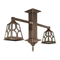 """MIssion, Arts and Crafts, Craftsman, Rustic Lighting - Sechrist of Denver, CO originally designed these classic art glass fixtures circa 1910-1920. The diamond, or """"J"""" pattern is very popular in Mission style lighting. Cast in Solid brass then hand darkened to an """"Antique"""" Finish. This two light pendant is great for hallways, small bathrooms, and entry ways."""