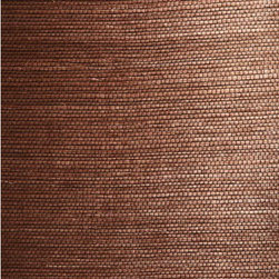 Xiu Dark Brown Grasscloth Wallpaper - This rich espresso brown grasscloth wallpaper weaves an exotic textured effect for walls in eco-chic natural materials.