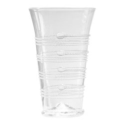 Ella Tumbler - Large - A delightful drinking glass for generous portions of iced tea or sparkling water which is also commodious enough for use as a subtly striking flower vase on a windowsill, the Ella Large Tumbler gleams with a stack of coiled strands, each forming a horizontal frieze of four bands that circle the glass. A hint of texture and glitter, this glass is suitable for the transitional or vintage table.