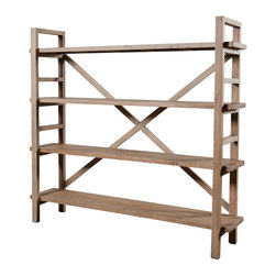 Four Hands - Toscana Large Bookshelf - There's an airy respect for space captured by this bookshelf that makes it an ideal addition to your favorite eclectic setting. It's made of responsibly forested pine and has a pale sun-dried wheat finish that is versatile enough to fit in virtually any color scheme.