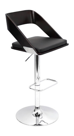 "Lumisource - Vuno Bar Stool, Wenge/Black - 19"" L x 18.5"" W x 36.5 - 41.5"" H"