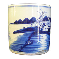 Golden Lotus - Chinese Blue & White Scenery Porcelain Brush Pot - This is an oriental decorative porcelain brush pot with white base color and blue oriental scenery.