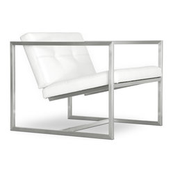 Gus Modern Delano Chair, White Leather