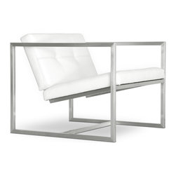 Gus Modern - Gus Modern Delano Chair, White Leather - If you thought an armchair had to be overstuffed and stuffy, here's a new thought. With its streamlined, stainless steel frame, wittily angled seat and luxe leather upholstery, this piece is perfect for your favorite modern setting.