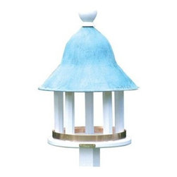 Lazy Hill Farms Blue Verde Copper Roof Bell Bird Feeder - With its handsome blue verde copper roof and spacious feeding area the Lazy Hill Farms Blue Verde Copper Roof Bell Bird Feeder is a charming upgrade to your garden space. The body of this bird feeder is crafted of white, solid cellular vinyl columns, which are a smart alternative to wood; cellular vinyl looks and feels authentic without the maintenance. The bell shaped, blue verde copper roof adds color and this feeder comes complete with a metal plate for post mounting. About Lazy Hill Farm Designs Lazy Hill Farm Designs is a leader in garden and birding accessories. They are known for turning exquisite designs into exceptional quality garden accessories. All Lazy Hill Farm products are made of solid cellular vinyl that looks and feels like genuine wood yet requires no maintenance. All the roofs are removable for easy cleaning and each one is handcrafted in America. These are among the finest garden accessories on the market.