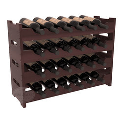 24 Bottle Mini Scalloped Wine Rack in Redwood with Walnut Stain + Satin Finish - Stack four 6 bottle racks for proper storage of 24 wine bottles. This rack requires light hardware for assembly and is ready to use as soon as it arrives. Makes the perfect gift and stores wine on any flat surface.