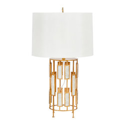 Worlds Away - Worlds Away Rialto Gold Leaf & Mirror Lamp - The Worlds Away Rialto lamp delivers mod spaces geometric grandeur. Beneath a classic cream shade, the gold base's inset antiqued mirrors reflect glamorous sophistication. Umber gold leaf finish; Cream silk shade; 60W max bulb (not included)
