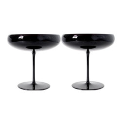 Martinka Crystalware & Lifestyle - Midnight Sky , Champagne Saucers (Set of 2) - The centuries old classic coupe meets modern day New York City in this champagne saucer set of two. Use them to serve your favorite champagne, dessert or appetizers. Each champagne saucer is handmade made from ultra-light weight black glass. When light passes through the black glass, a beautiful purple hue reveals itself.