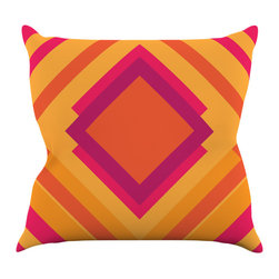 """Kess InHouse - Belinda Gillies """"Diamond Dayze"""" Orange Pink Throw Pillow (16"""" x 16"""") - Rest among the art you love. Transform your hang out room into a hip gallery, that's also comfortable. With this pillow you can create an environment that reflects your unique style. It's amazing what a throw pillow can do to complete a room. (Kess InHouse is not responsible for pillow fighting that may occur as the result of creative stimulation)."""