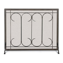 "Iron Gate Single Panel Fireplace Screen - 31"" x 39"" - A thick frame stands in contrast to a narrow interior design of criss-crossing strands and vertical shapes. A classic, homey design perfect for a traditional hearth."