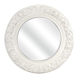 """IMAX - Merril Carved Round Mirror - Open a window to a different era with the Merril carved mirror. Featuring a classic carved floral pattern and antique white finish, this stunning wall mirror will bring charm and style to your decor. Item Dimensions: (39.5""""h x 39.5""""w x 3.25"""")"""