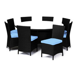 "Reef Rattan - Reef Rattan Capri 9 Piece Round Dining Set - Black Rattan / Blue Cushions - Reef Rattan Capri 9 Piece Round Dining Set - Black Rattan / Blue Cushions. This patio set is made from all-weather resin wicker and produced to fulfill your needs for high quality. The resin wicker in this patio set won't fade, shrink, lose its strength, or snap. UV resistant and water resistant, this patio set is durable and easy to maintain. A rust-free powder-coated aluminum frame provides strength to withstand years of use. Sunbrella fabrics on patio furniture lends you the sophistication of a five star hotel, right in your outdoor living space, featuring industry leading Sunbrella fabrics. Designed to reflect that ultra-chic look, and with superior resistance to the elements in a variety of climates, the series stands for comfort, class, and constancy. Recreating the poolside high end feel of an upmarket hotel for outdoor living in a residence or commercial space is easy with this patio furniture. After all, you want a set of patio furniture that's going to look great, and do so for the long-term. The canvas-like fabrics which are designed by Sunbrella utilize the latest synthetic fiber technology are engineered to resist stains and UV fading. This is patio furniture that is made to endure, along with the classic look they represent. When you're creating a comfortable and stylish outdoor room, you're looking for the best quality at a price that makes sense. Resin wicker looks like natural wicker but is made of synthetic polyethylene fiber. Resin wicker is durable & easy to maintain and resistant against the elements. UV Resistant Wicker. Welded aluminum frame is nearly in-destructible and rust free. Stain resistant sunbrella cushions are double-stitched for strength and are fully machine washable. Removable covers made with commercial grade zippers. Tables include tempered glass top. 5 year warranty on this product. Round Table: W 64"" D 64"" H 29"", Chairs (8): W 24"" D 18"" H 34"""