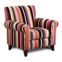 "Armen Living - Danny Chair in Caressa Rose Fabric - Adopting suave lines and a sophisticated but playful mood, create a classically ""mod"" aesthetic for your loft, town home or condo.; Comfortable, stylish and relaxing; Made with multicolored fabric; High quality construction; California Fire Retardant (CFR) rated; Color: Rose; Comes with standard 1 year limited warranty; Dimensions: 37""W x 32""D x 38""H"