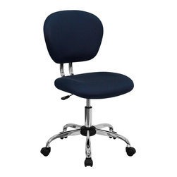 Flash Furniture - Flash Furniture Mid-Back Navy Mesh Task Chair w/ Chrome Base - H-2376-F-NAVY-GG - This value priced mesh task chair will accommodate your essential needs for your home or office space. This chair will add a splash of color to your office for a non-traditional look. chair features a breathable mesh material with a comfortably padded seat. [H-2376-F-NAVY-GG]