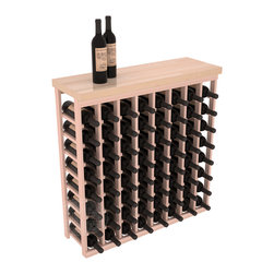 """Tasting Table Wine Rack Kit + Butcher Block Top in Redwood with White Wash Stain - The quintessential wine cellar bar; this wooden wine rack is a perfect way to create discrete wine storage in shallow areas. Customize with LEDs. Includes a 35"""" culinary grade Butcher's Block top. Marble and granite are also popular methods to create intimate tasting tables. We build this rack to our industry leading standards and your satisfaction is guaranteed."""