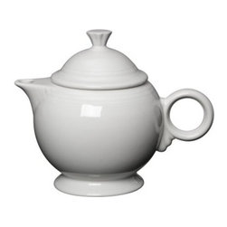 Fiesta White Covered Teapot 44 oz. - About FiestaAmerica's favorite dinnerware line, Fiesta was introduced by the Homer Laughlin China Company in 1936. Available in plenty of bright, vibrant colors and unique shapes, Fiesta dinnerware and serveware features Art Deco-style concentric rings. Made from durable, restaurant-quality ceramic and finished in lead- and cadmium-free glazes, this line of kitchenware is easy to mix and match to create your own custom set. Best of all, each piece is microwave- and oven-safe, and dishwasher-safe for easy cleanup.